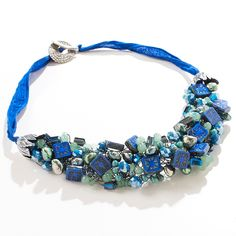 Blue/Green Wire Crochet Statement Necklace by ChristineBorn on Etsy