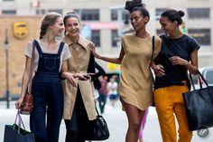 Fashion models Tilda Lindstam, Mijo Mihaljcic, Grace Mahary & Cora Emmanuel on a street style photo taken after 3.1 Phillip Lim during NYFW.