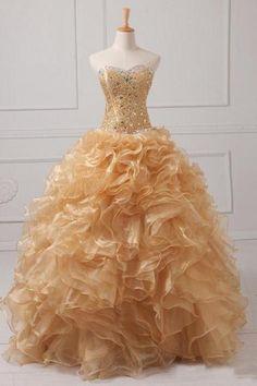 Strapless Sweetheart A-line Quinceañera Dress with Organza Ruffle Skirt