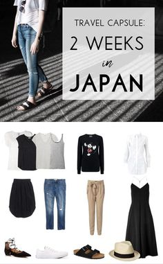 Travel capsule wardrobe for 2 weeks in one carry on: pack for summer in Japan.