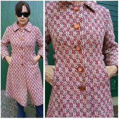 60s big nubby weave blood moon button statement coat / cranberry cream grey / mid century mod tailored shaped torso with flare hem