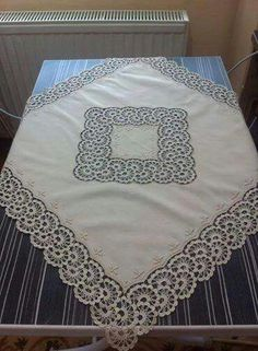 Beautiful tone-on-tone embroidered and crochet supper cloth ♥