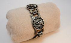 60s  round links Nefertiti bracelet Egyptian revival metal alloy by LoukiesWorld on Etsy