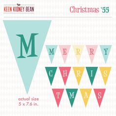 "Retro Christmas 1955 ""Merry Christmas"" Flag Banner Sign Party Printable Decoration"