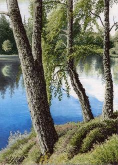 Trees at the edge of a lake - landscape embroidery by Alison Holt
