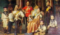 King Chulalongkorn the Great (Rama V) of Siam with his family. From left: HRH Prince Asdang, HM King Chulalongkorn, HRH Crown Prince Vajiravudh (future Rama VI), HM Queen Sri Bajarindra, the Regent Queen, HRH Prince Prajadhipok (future Rama VII), HRH Prince Chakrabongse, and HRH Prince Chudadhuj.