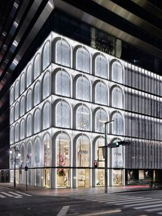 Architecture interiors, ginza six, facade lighting, shop front design, stor Mall Facade, Retail Facade, Shop Facade, Building Facade, Shop Interior Design, Retail Design, Store Design, Retail Architecture, Facade Architecture
