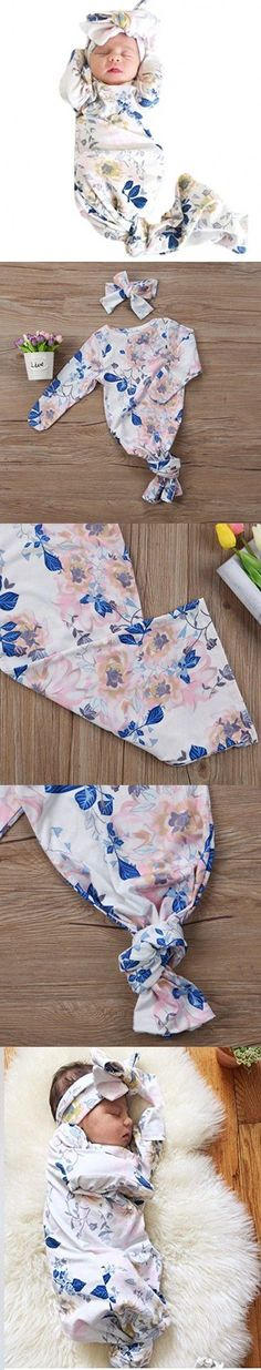 2PC Newborn Baby Gown Unisex Floral Print Sleep Sack Long Sleeve Nightgowns with Headband #babynightgowns