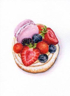 Berry custard tart ORIGINAL Painting Vintage por ForestSpiritArt