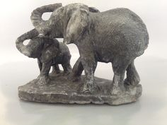 Elephant Mother And Baby Figurine Stone Carving Sculpture Model Statue