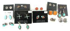lot of 14 Pair Post Earrings E522 American Indian Names, Native American Indians, Vintage Earrings, Vintage Jewelry, Vintage Shops, Vintage Items, Indian Arts And Crafts, Indian Interiors, Native American Earrings