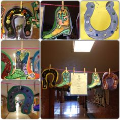 Stock Show preschool craft. Cowgirl/boy boots and horseshoes. Wild Wild West Preschool Theme, Wild West Cowboys, Preschool Projects, Summer Camps, Horseshoes, Le Far West, Picasso, Auction, March