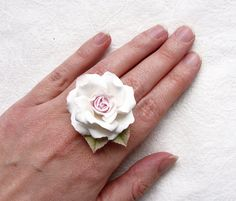 Polymer clay flower ring with white rose by SilverSeagullArt, $25.00