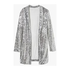 Silver Sequin Loose Drapy Open Jacket (265 RON) ❤ liked on Polyvore featuring outerwear, jackets, cardigans, silver, sequin jacket, loose jacket, silver sequin jacket and silver jacket
