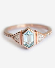 Aquamarine Engagement Ring || Colored Engagement Ring || Perfect Engagement Ring #Engaged #engagementring Prefer white gold and diamond in the middle
