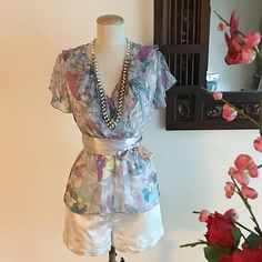 CNY Sale - Floral Print Chiffon Baby Doll Blouse on Carousell