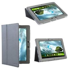 i-Blason Premium Leather Folio Carry Case : Cover With Adjustable Stand for Asus Transformer TF300 GRAY