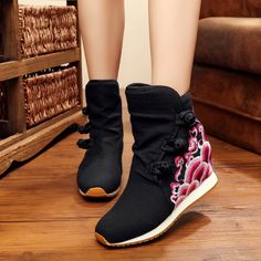 Fashion embroidery Retro ankle boots women shoes short plush winter warm women booties women boots shoes oxford shoes for women