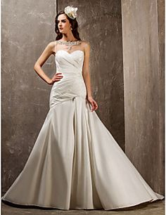 Fit and Flare Sweetheart Sweep/Brush Nylon Taffeta And Tulle... – USD $ 179.99