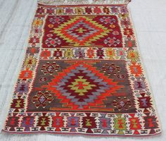 "Turkish Kilim rug, 6'4.8"" x 4'2.4"" / 195  x 128 cm , area rug, Kilim Rug, Multicolored rug, Colorful   Kilim Rug, wool kilim  Code:5915"