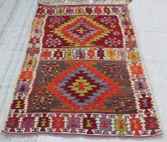 "Turkish Kilim rug, 6'4.8"" x 4'2.4"" / 195  x 128 cm , area rug, Kilim Rug, Multicolored rug, Colorful   Kilim Rug, wool kilim  Code:5915"