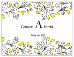 Wine Bottle Labels. Printable Wedding Invitations Paisley Christina Suite: Yellow and Black