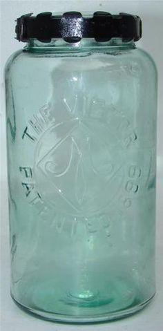 The Victor Patented 1899 Fruit Jar Quart RB2886 RARE Orig Closure Lid | eBay Vintage Mason Jars, Blue Mason Jars, Vintage Bottles, Mason Jar Diy, Antique Glass Bottles, Bottles And Jars, Glass Jars, Ball Canning Jars, Ball Jars