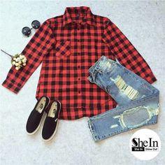Winter Estilo Fashion, Style Me, Dress Shoes, Plaid, Denim, Blouse, Pants, Fashion Trends, Shirts