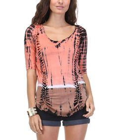 Look at this Urban X Peach & Mocha Tie-Dye Top on #zulily today!
