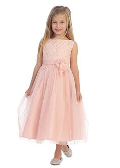 Blush Lace Bodice Flower Girl Dress