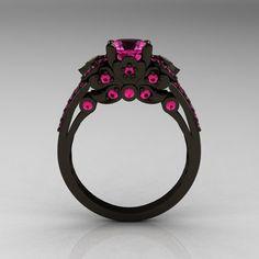Classic 14K Black Gold 1.0 CT Pink Sapphire Blazer Wedding Ring R203-14KBGPS. $2,499.00, via Etsy.