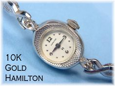 10K Solid White Gold ~ Hamilton ~ 17 Jewel Swiss Diamond Ladies Wrist Watch With Diamond Cut Design & Stretch Band - Watches - FREE SHIPPING by FindMeTreasures on Etsy