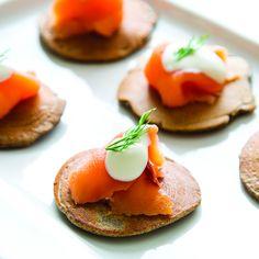"... buckwheat pancakes with smoked ""gravlax"" salmon for delightful"