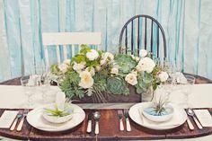 air plant place cards / enjoy events co. / kate harrison photography / florali florals / mae mae paperie / archive vintage rentals / classic party rentals
