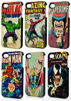 Marvel Comics iPhone covers... Wolverine or Hulk? Oh hell, I'd love any of them.