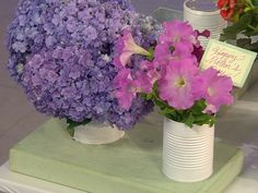Martha Stewart demonstrates how to use materials you have on hand, such as coffee and paint cans and old china sets, to plant flowers and herbs. China Sets, Paint Cans, Martha Stewart, Houseplants, Reuse, Planting Flowers, Beautiful Flowers, Mothers, Chloe