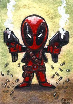 #Lil #Fan #Art. (Deadpool Chibi sketch card) By: Geralddedios.