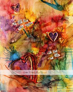 Art Colors Life Mixed Media Matted Print by Kim Thompson