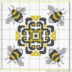 As Busy as a Bee: 13 Ideas for Creativity + Bonus for Needlewomen, фото № 27 Biscornu Cross Stitch, Mini Cross Stitch, Cross Stitch Animals, Cross Stitch Charts, Cross Stitch Designs, Cross Stitch Embroidery, Embroidery Patterns, Cross Stitch Patterns, Blackwork