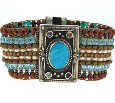 Turquoise Beaded Gemstone Chili Rose Bracelet-