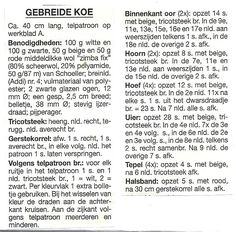 Elfi-Jo: GEBREIDE KOE + breipatroon. Knit Crochet, Math, Knitting, Words, Tricot, Math Resources, Breien, Ganchillo, Stricken