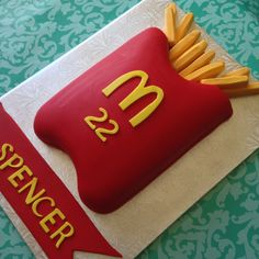 McDonalds French Fries Birthday Cake for a friend's son for his birthday.