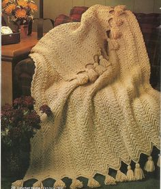 Rippled Wheat Afghan Crochet Pattern Blanket by PatternMania3