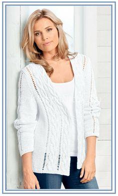 Белый жакет от Junghans-Wolle | Вязание для женщин | Вязание спицами и крючком. Схемы вязания.