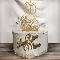 Check out SPECIAL Set of 3: Names with Date, Love you More and Family Name 1-letter Monogram Wooden Unpainted Cake Toppers Wedding Celebration 4114s3 on monogramcustomart