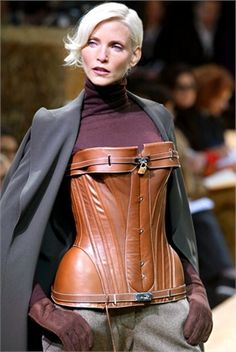 Hermes saddle leather bustier from Jean Paul Gaultier's first collection for the house in 2003