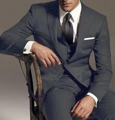 SKU#KS896 Reg:795 on sale $249 2 Btn Vested 3PC Wool Suit Peak Pointed English Style Lapel Dark Grey $199