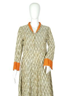 Grey and Orange Ikat Dress – Desically Ethnic