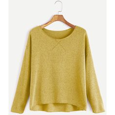 SheIn(sheinside) Yellow Drop Shoulder Dip Hem T-shirt ($9) ❤ liked on Polyvore featuring tops, t-shirts, sweaters, shirts, yellow t shirt, t shirt, yellow shirt, drop shoulder t shirt and long-sleeve shirt