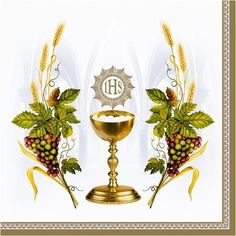 Napkins cm - Chalice with Grapes and Wheat Blue First Communion Cards, Holy Communion Invitations, Première Communion, First Holy Communion, Catholic Pictures, Pictures Of Jesus Christ, Blessed Sunday, Altar Cloth, Holy Rosary